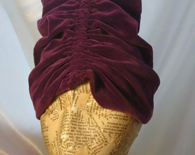 Vintage 1920's velvet turban, high turban, purple hat, theatre, picture hat