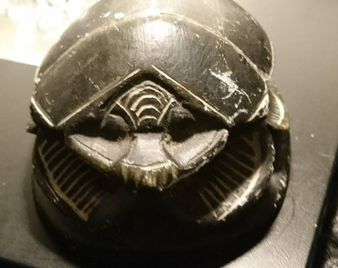 Antique chalkware scarab, Victorian carved chalkware scarab beetle ornament, paperweight