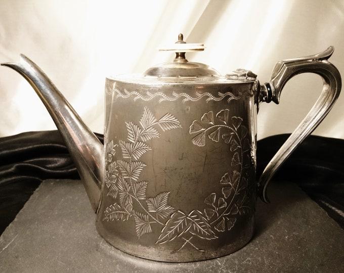 Antique silver plated tea pot, Victorian aesthetic era, Rustic ornamental teapot