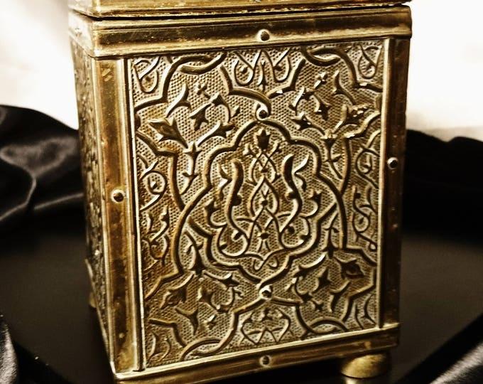 Antique tea caddy, embossed brass single tea caddy with lid, art nouveau