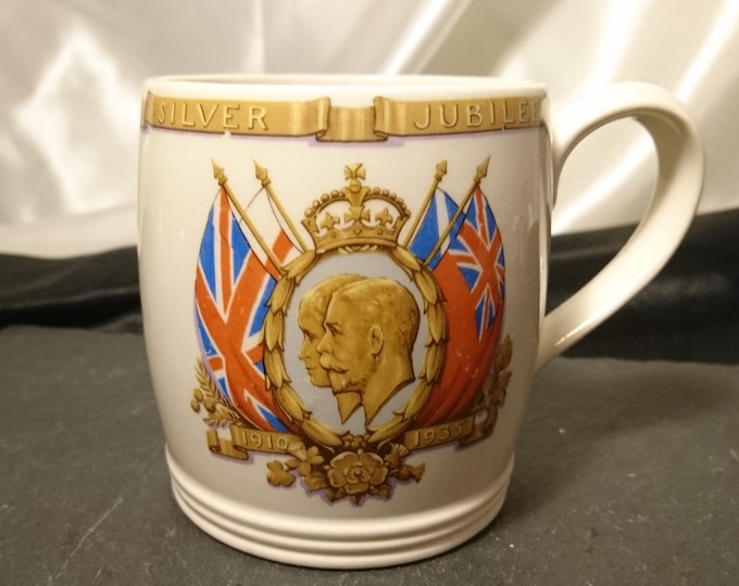 Vintage royal mug, commemorative, George V and Queen Mary, 1930's, silver jubilee mug, Johnson Bros