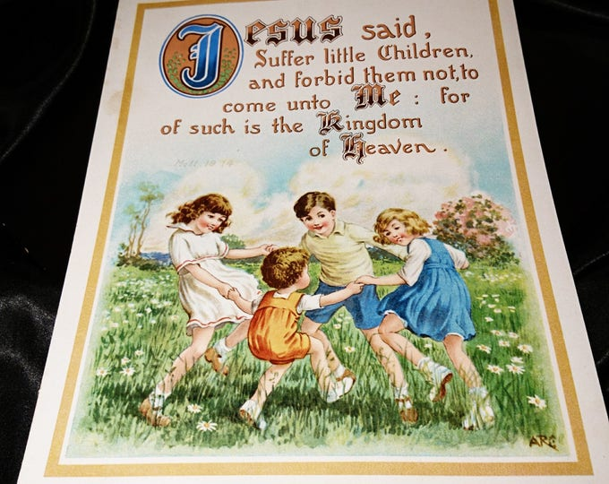 Vintage 1920's religious print, vintage Christian herald, King George V, Church presentation print, Matthew 19-14 KJV