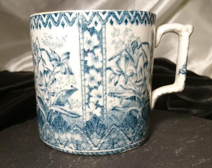 Huge antique transferware mug, 18th century, blue and white, stoneware mug, Georgian era pottery mug