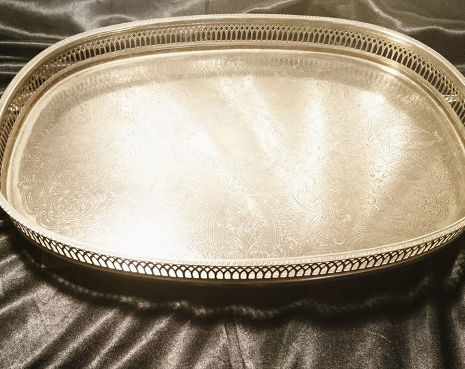 Large vintage silver plated tray, oval serving tray, drinks, gallery tray