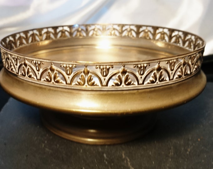 Antique silver plated rose bowl, brass and copper, Victorian centrepiece