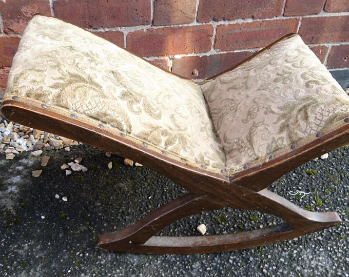 George iii mahogany gout stool, antique home furniture, upholstered antique gout stool