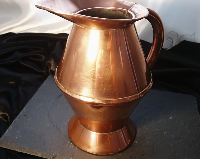Antique copper haystack measure, Georgian ale jug