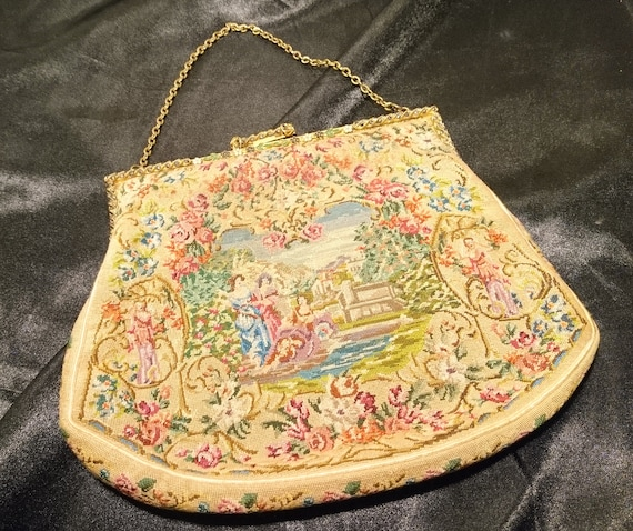 French antique evening purse, gilt, pyrite and cloisonné frame, tapestry purse, jewelled