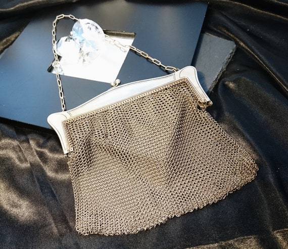 Victorian chain mail purse, antique mesh purse, evening bags