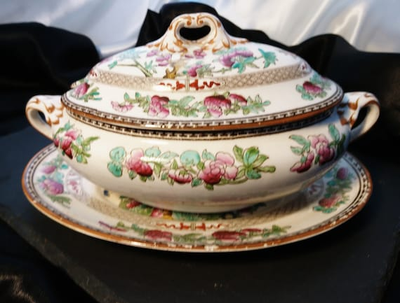 Antique China tureen, serving boat with plate, Edwardian era, Booths Indian tree, antique serveware