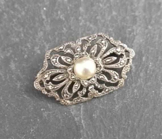 Vintage silver and marcasite brooch, faux pearl