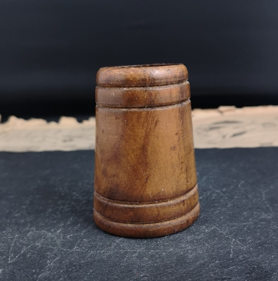 Antique wooden duce cup, dice shaker, Treen