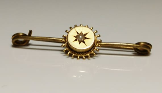 Antique gold and pearl brooch, 9ct starburst, Victorian etruscan style