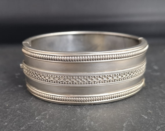 Antique Victorian silver cuff bangle, wide