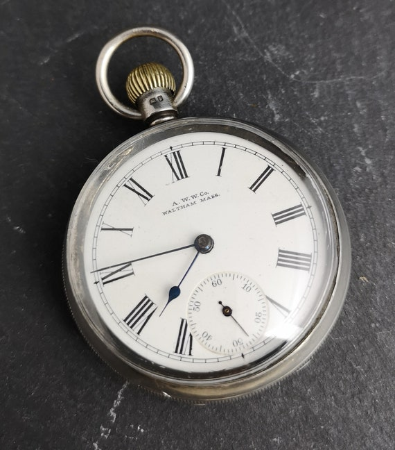 Antique Victorian sterling silver pocket watch, top wind, working