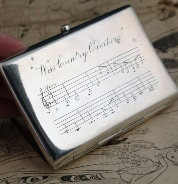 Antique silver cigarette case, Victorian sterling silver, musical staves, West Country overture