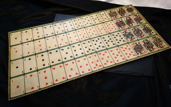 Vintage 20's card game board, patience, solitaire, game board