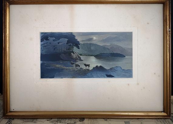 Antique watercolour painting, Welsh rural scene mountains, signed, antique fine art
