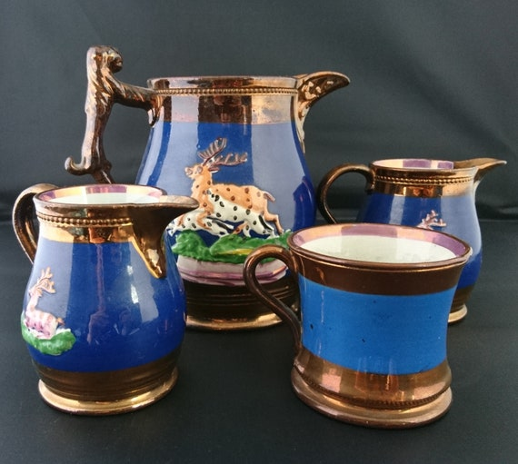 Antique Staffordshire jug set, copper lustreware, 4pcs set, 19th century pottery, stag design
