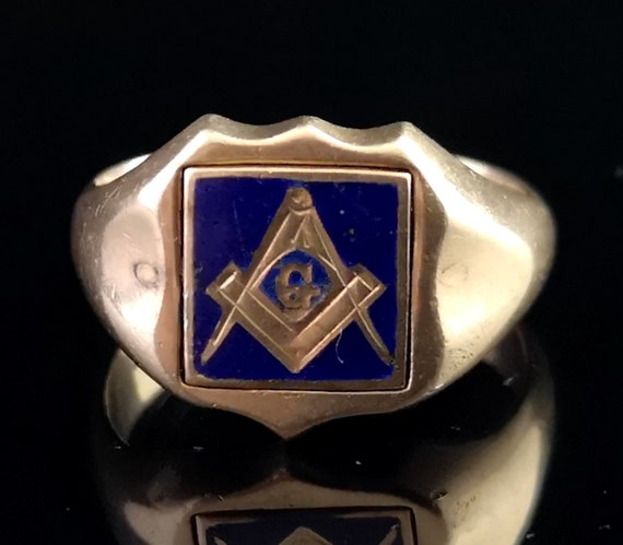 Antique Masonic Signet ring, 9ct gold, blue enamel