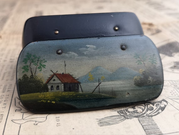 Antique snuff box, Victorian wood snuff box, hand painted scene village, patch box, labelled