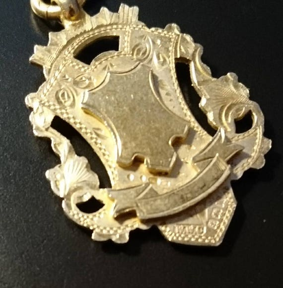 Vintage silver gilt fob, watch fob, albert chain fob, blank cartouche, fully hallmarked, 1920's