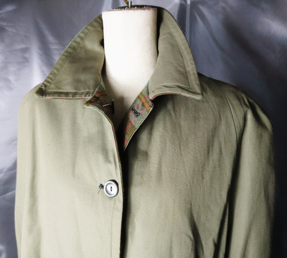 Vintage 50's Cape, army green and plaid, reversible, cotton and Welsh wool
