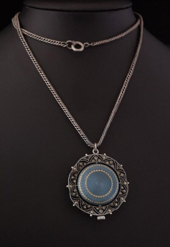 Antique silver fob watch, guilloche enamel, Art No