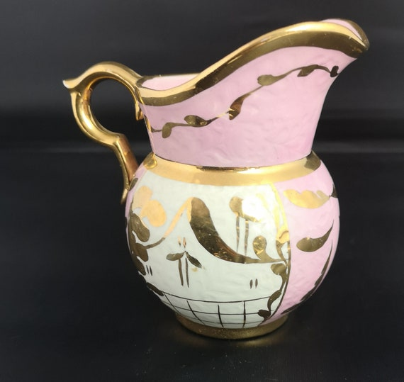 Vintage ceramic lustreware jug, pink and gold, 1940's