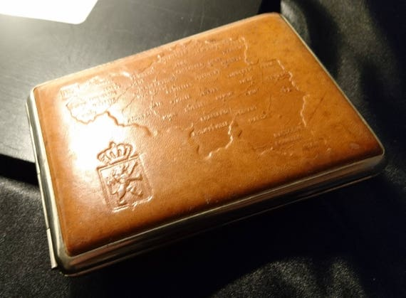 Vintage cigarette case, 1950's leather bound Belgium, map cigarette case, gilt lined