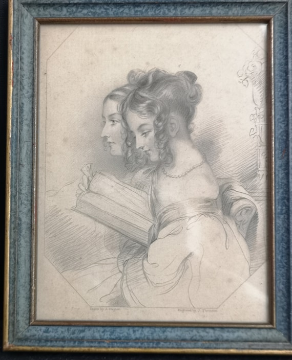 Antique engraving, The Sisters, Heaths book of beauty, artwork