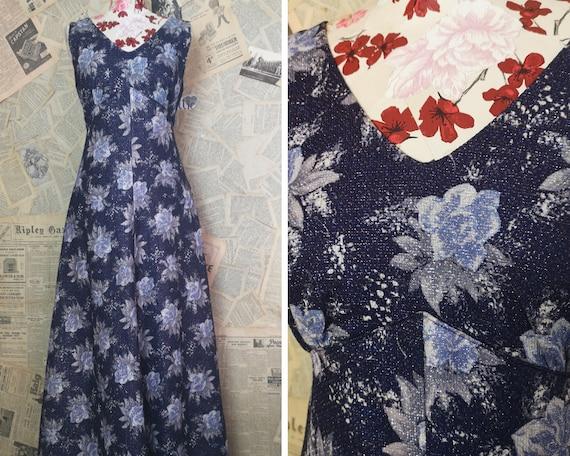 Vintage 50's floral dress, purple tones, long full skirt