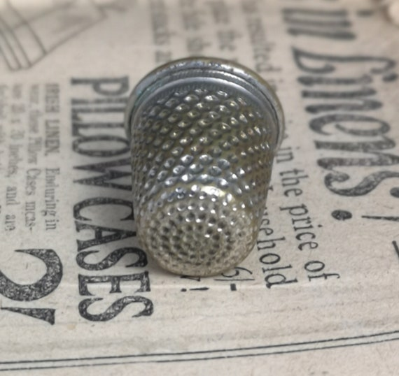 Antique silver plated thimble, rustic, worn