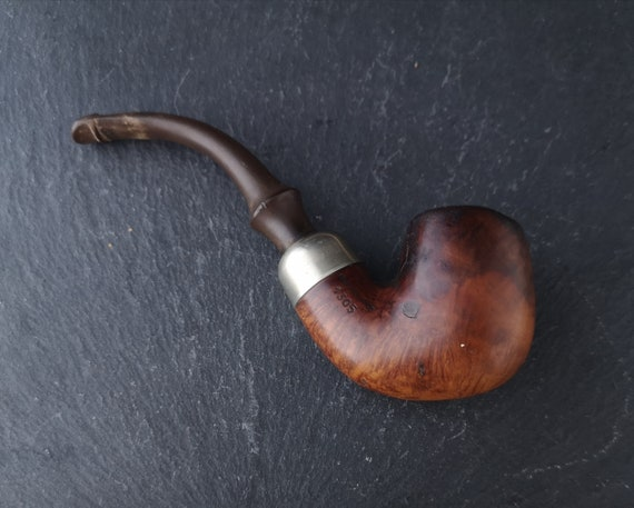 Vintage French Briar wood bent pipe, tobacco pipe, estate smoking pipe
