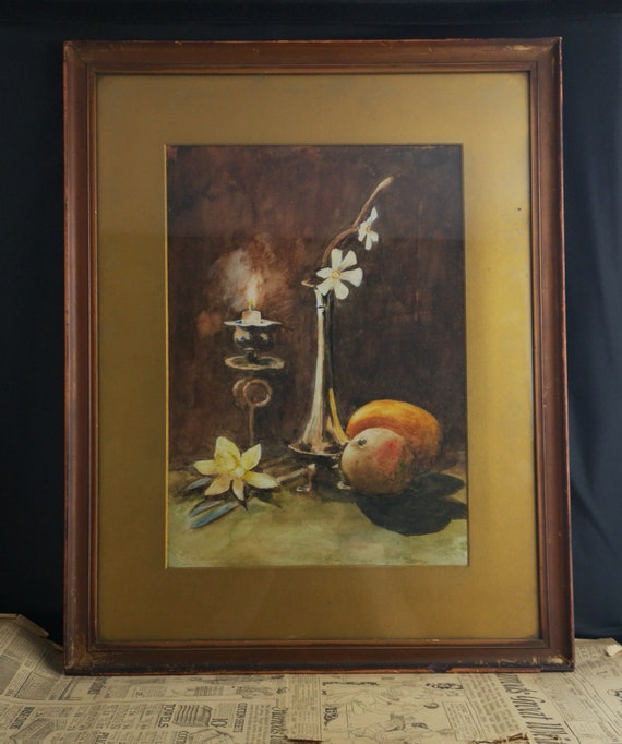 Antique watercolour painting, still life, candle and fruit