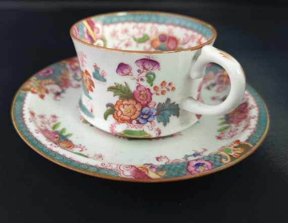 Antique demitasse cup and saucer, Cauldon, Chinoiserie