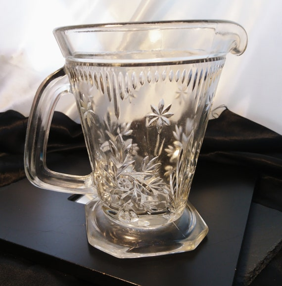 Antique cut glass jug / pitcher, Victorian