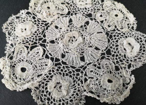 Antique lace doilies, cotton lace, set of 10, table linen