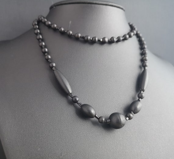 Victorian whitby jet bead necklace, long length mourning necklace