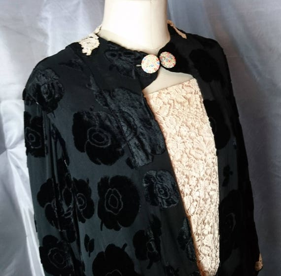 Vintage 1920s Black velvet devore dress, drop waisted, Art Deco