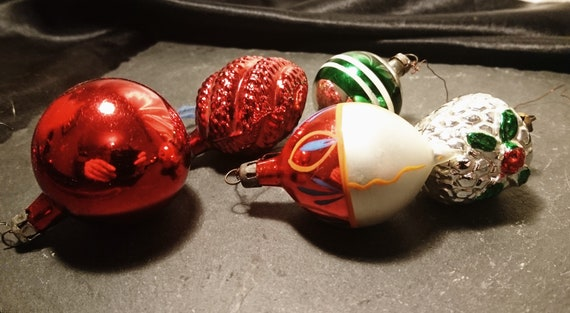 Antique Christmas baubles, blown glass, hand decorated, Christmas decorations, Holly