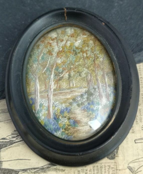 Antique Georgian tapestry miniature, silk and woolwork picture, woodland