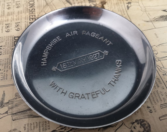Vintage silver plated dish, 20's air pageant, commemorative
