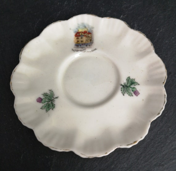 Antique Scottish souvenir ware plate, miniature ceramic plate, house of John Knox
