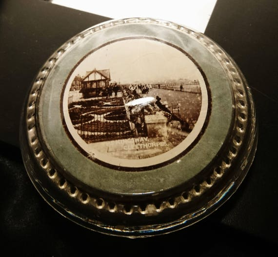 Antique paperweight, souvenir glass paperweight, Edwardian, original label, Cleethorpes