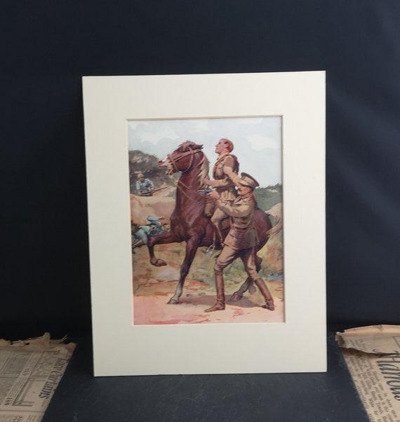 Vintage WW1 print, horse, military art