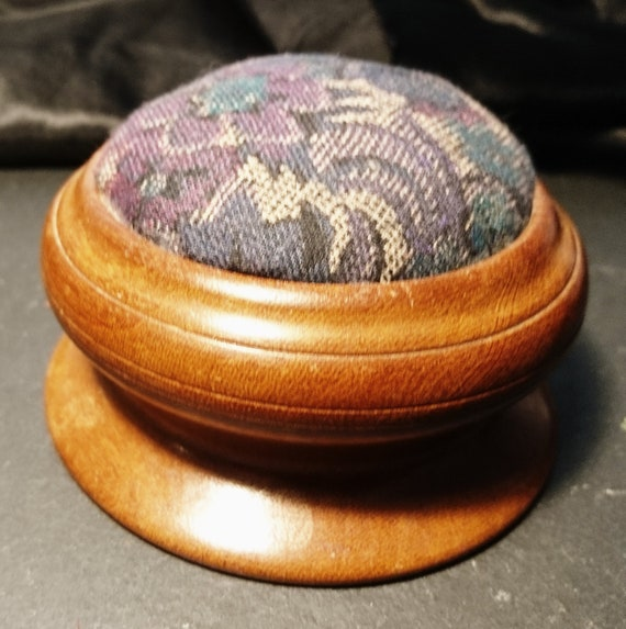 Antique pincushion, turned wood and woolwork tapestry, Edwardian, Treen, sewing