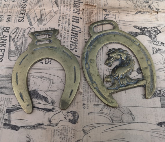 Antique horse brass pair, Victorian horseshoe