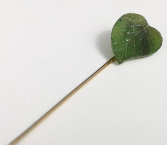 Vintage jade leaf stick pin, 1950's cravat pin