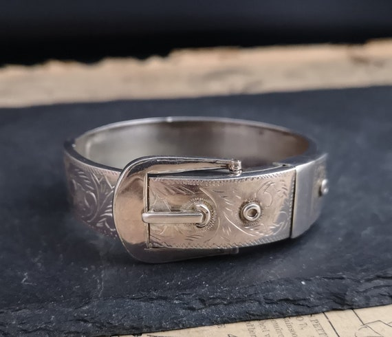 Antique Victorian silver buckle bangle, aesthetic engraved